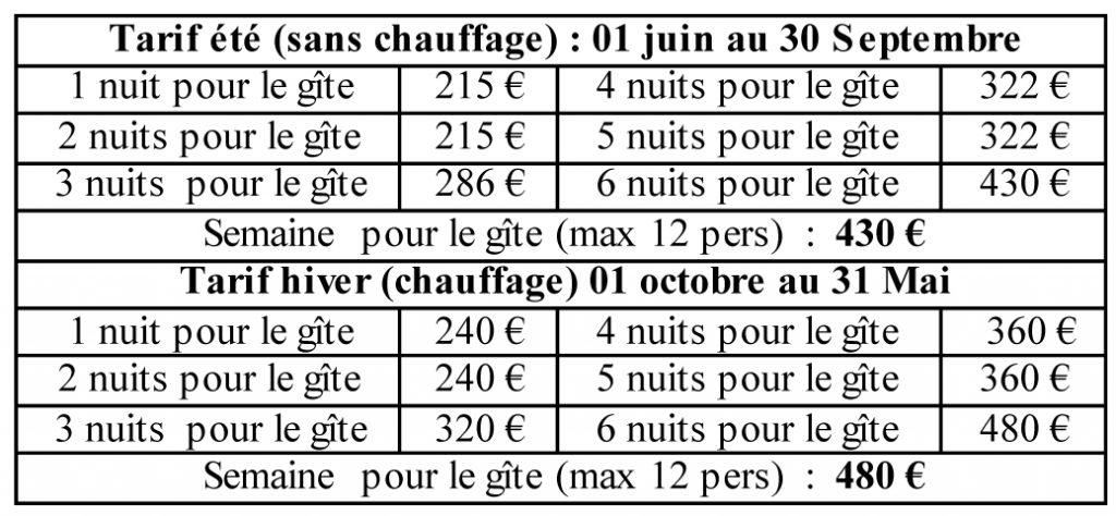 tarifs gite lascourt 2017 le claux